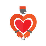 Stylized Prisoner with  heart icon. Online Dating.  Stock Images