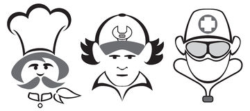 Stylized Professional Heads vector illustration