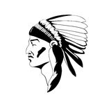 Stylized profile of the Indian chief in traditional ceremonial headdress. Stock Images