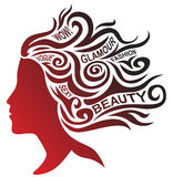 Stylized profile with text elements. Stylized woman face and hair design Stock Photography
