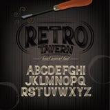 Stylized pub tavern bar carved hand drawn font Stock Image