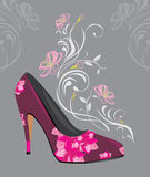 Stylized purple elegant female shoes Royalty Free Stock Photography