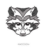 Stylized Raccoon. vector illustration of raccoon. Sketch of raccoon for tattoo or print. raccoon face. Stylized Raccoon face. Hand Drawn vector illustration Royalty Free Stock Photography