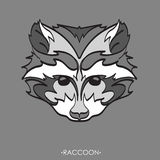 Stylized Raccoon. vector illustration of raccoon. Sketch of raccoon for tattoo or print. raccoon face. Stylized Raccoon face. Hand Drawn vector illustration Royalty Free Stock Photos