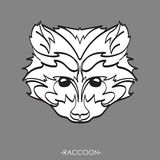 Stylized Raccoon. vector illustration of raccoon. Sketch of raccoon for tattoo or print. raccoon face. Stylized Raccoon face. Hand Drawn vector illustration Royalty Free Stock Images