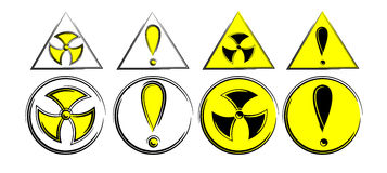 Stylized radiation signs. Triangular and circular format Stock Photo