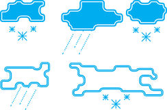 Stylized rain and snow clouds Stock Images