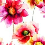 Stylized röd blommaillustration Arkivbild