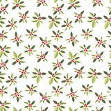 Stylized red berries on a white background. Seamless pattern with vegetative elements and berries for design Royalty Free Stock Photos