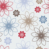 Stylized red, blue and brown flowers Stock Image