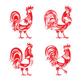Stylized red cockerel rooster silhouette set Royalty Free Stock Photography
