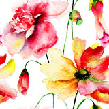 Stylized red flowers illustration Stock Images
