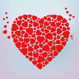 Stylized red heart made of small heart shapes. 14 February. Template for wedding, love, Valentine's day invitation and greeting card. Vector Blurred Soft Royalty Free Stock Photo