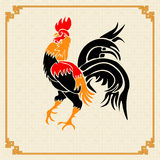 Stylized red rooster on the background of the ornament in the Chinese style. Stock Images