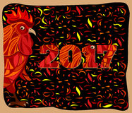 Stylized red rooster, chinese new year vector illustration. Stylized red rooster, fire cock, traditional symbol of 2017 by oriental calendar, chinese new year Stock Images