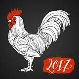 Stylized red rooster hand drawn in lines isolated on white background. 2017 symbol. Vector illustration. Can be used for Royalty Free Stock Image