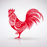 Stylized Red Rooster. On a light background Royalty Free Stock Photos