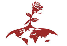 Stylized Red Rose On The Globe. Stylized vectorial illustration of a rose, growth from globe Stock Photo