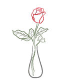Stylized red rose in a vase Stock Photo