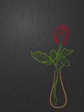 Stylized red rose in a vase over grey Stock Photos