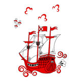 Stylized red ship Royalty Free Stock Photo