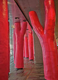 Stylized Red Tree Trunks, Montreal Convention Center Royalty Free Stock Photos