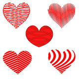 Stylized Red and White Heart Patterns. Abstract Stylized set of Red and White Heart Patterns Royalty Free Stock Photo