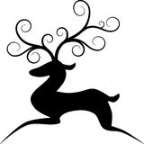 Stylized Reindeer. Simple illustration stylized Reindeer. Black silhouette, Christmas theme, easy to edit Stock Photos