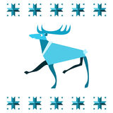 Stylized reindeer or elk in pattern with snowflakes - blue nordic motif isolated on white stock images