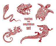 Stylized reptiles and amphibian icon set royalty free illustration