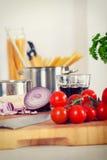 Stylized Retro avbildar av pastan och ingredienserna Fotografering för Bildbyråer