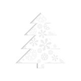 Stylized retro Christmas tree with snowflake. Royalty Free Stock Images