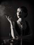 Stylized retro portrait with cigarette Royalty Free Stock Photography