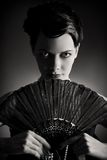Stylized retro portrait with fan Royalty Free Stock Images