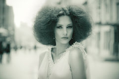 Stylized retro portrait of a gorgeous woman Royalty Free Stock Photography