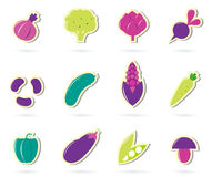 Stylized retro Vegetable icons - isolated on white Royalty Free Stock Photography