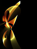Stylized Ribbon. Fractal form on black background with copy space Royalty Free Stock Photos