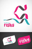 Stylized ribbon fish icon. & business cards, EPS10 vector Royalty Free Stock Image