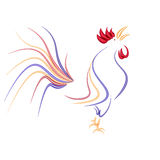 Stylized rooster isolated on a white background. 2017 fiery red rooster. illustration. Stylized rooster isolated on a white background. 2017 fiery red rooster Royalty Free Stock Photos