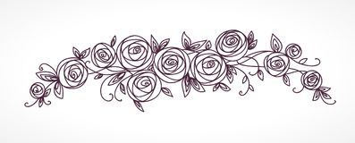 Stylized rose flowers bouquet. Branch of flowers and leaves interlacing. Stock Photography