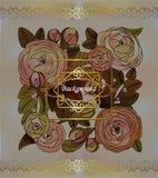 Stylized roses on blur pastel background, vintage frame Royalty Free Stock Photos