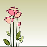 Stylized roses flower cart,  background Stock Photos