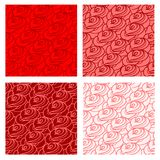 Stylized roses seamless set. Vector hand drawn seamless pattern set. Stylized roses stock illustration