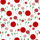 Stylized round red flowers Stock Images