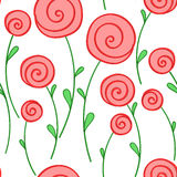 Stylized round red flowers Royalty Free Stock Image