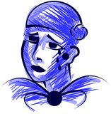 Stylized sad pierrot in blue tones  Stock Images
