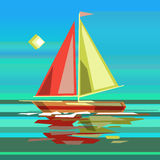 Stylized sailing boat on sea surface Stock Photography