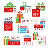 Stylized sale stickers and tags. Pop art hand-drawn set. royalty free illustration