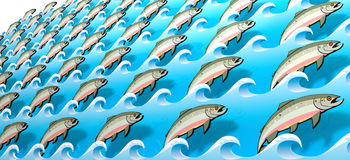 Stylized Salmon Swimming Upstream Stock Photography