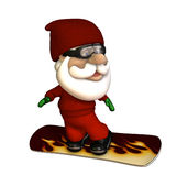 Stylized Santa Snowboarder vector illustration